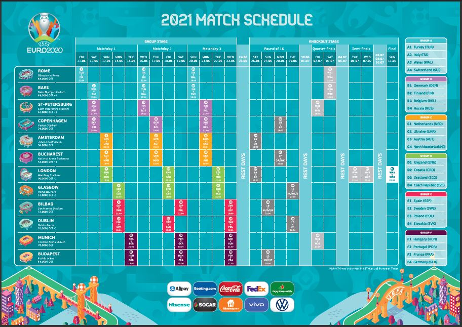 UEFA Euro 2021 Fixtures