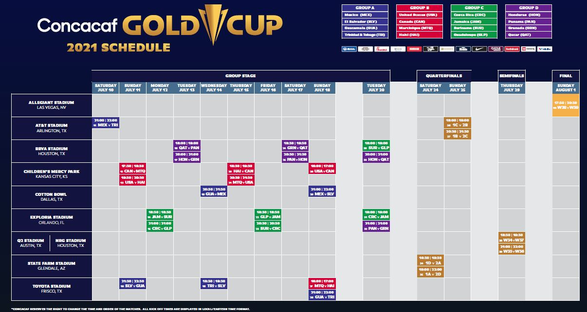 concacaf gold cup 2021 schedule